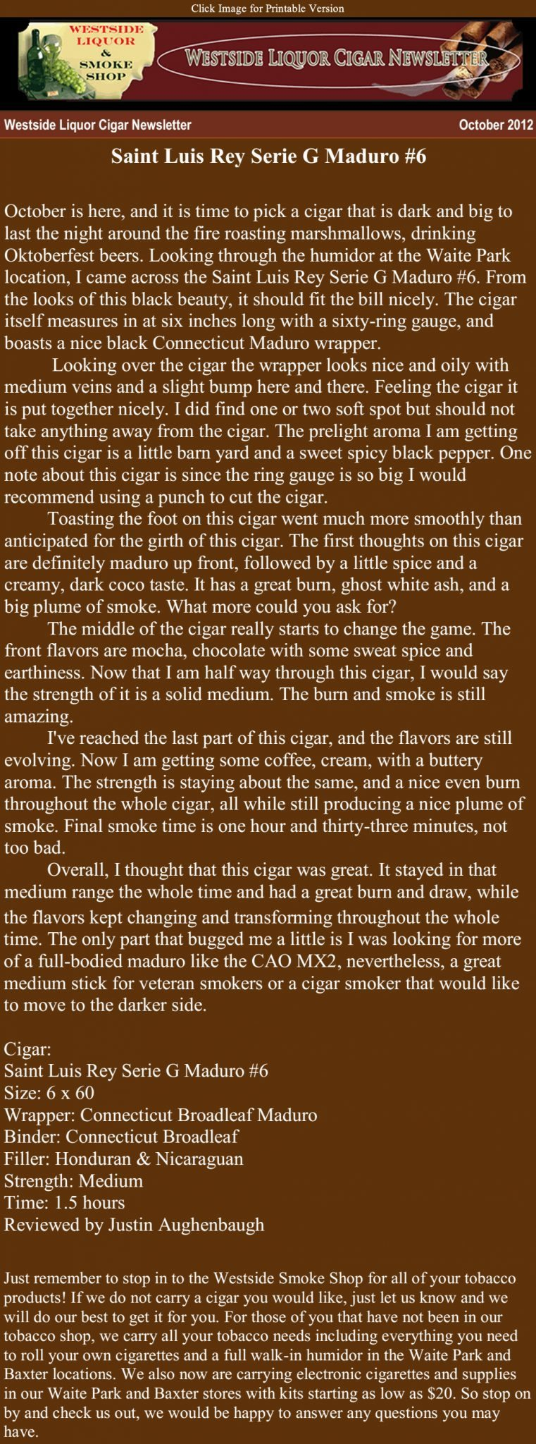 Westside Liquor Cigar Newsletter
